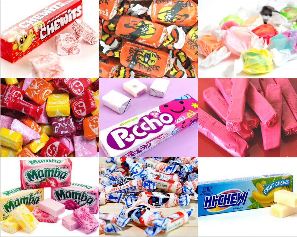 various taffies and fruit chews from across the world