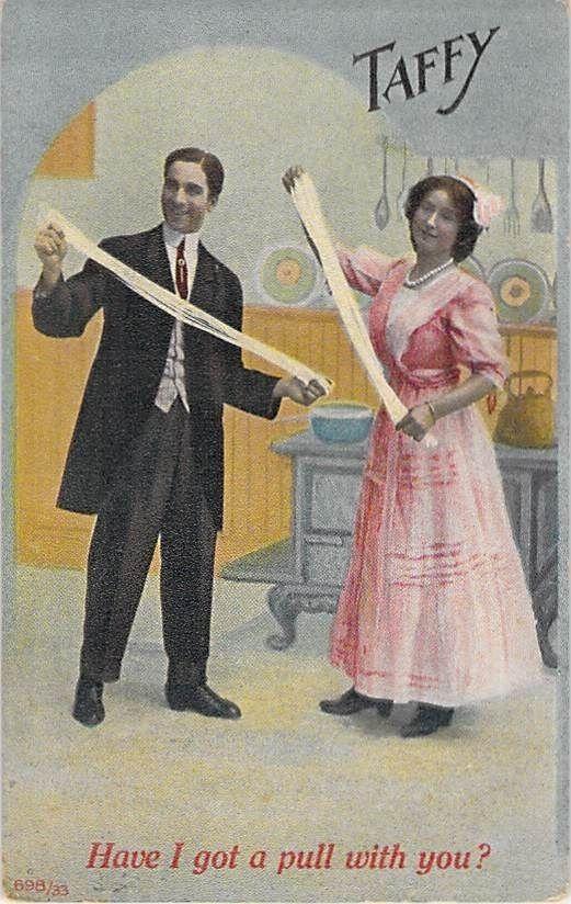 Vintage taffy-pulling postcard